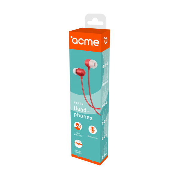 ACME EUROPE Słuchawki przewodowe douszne z mikrofonem HE21R czerwone