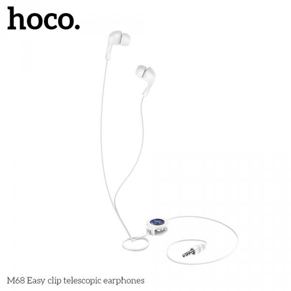 HOCO zestaw słuchawkowy / słuchawki dokanałowe teleskopowe M68 biały