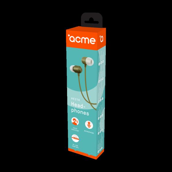 ACME EUROPE Słuchawki przewodowe douszne z mikrofonem HE21K khaki