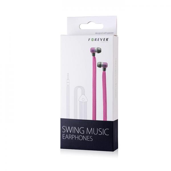 Zestaw słuchawkowy Forever Swing Music sznurówka różowy