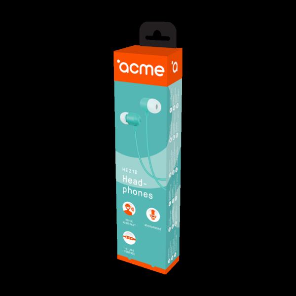 ACME EUROPE Słuchawki przewodowe douszne z mikrofonem HE21B niebieskie